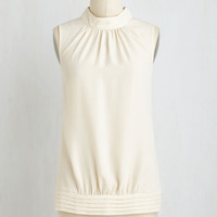 Mid-length Sleeveless Midtown Magnificence Top in Ivory
