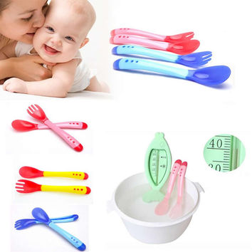 Baby Feeding Fork and Spoon For Baby Safety Feeder Temperature Sensing Spoon Baby Flatware Feeding Spoon Feeder food