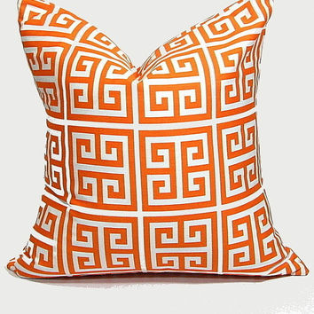 "Orange Pillow Cover 26x26 Euro Sham Home Decor Accent Pillow 26"" Tangerine, White Greek Key ONE"