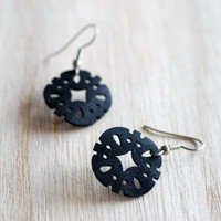 Recycled inner tube black flower or sand dollar shaped earrings with hypo allergenic surgical steel ear hooks , lively leaf eco chic jewelry