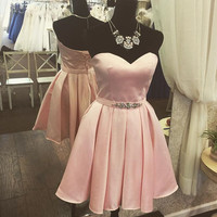 Baby Pink Sweetheart Beads Open Back Cute Homecoming Dress
