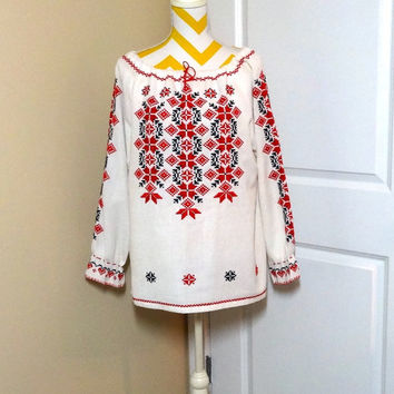 Vintage 1980s Hand Made Christmas Peasant Blouse With Cross Stitched Design in Red and Charcoal, Medium to Large