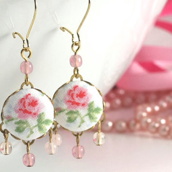 Shabby Chic Roses Earrings - Pink Green Flowers on White Fabric Covered Buttons Dangle Earrings with Czech Glass Beads Bridal Wedding