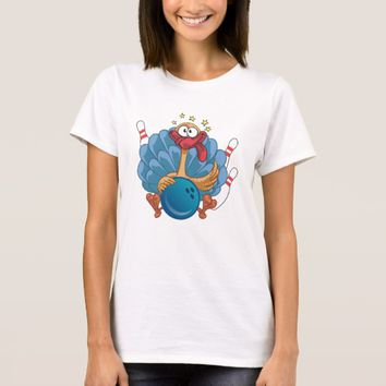 Bowling Wild Turkey With Ball And Pins T-Shirt