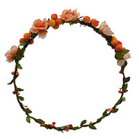 Beautiful Colorful Flowers Wreath Headband Floral Crown Garland Halo for Wedding Festivals FWB1903 (Orange)