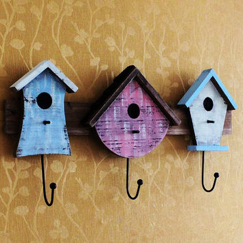 Retro Bird Cage Home Decor Wood Clothes Hat Bag Hangers Hook Wall Mounted