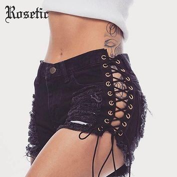 Rosetic Gothic Denim Shorts Bandage Black Hole Sexy Hot Fashion Summer Slim Ripped Jeans Short Pants Lacing Goth Casual Shorts