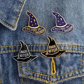 WIZARD IN TRAINING BASIC WITCH Hat Brooches Button Pins Denim Jacket Enamel Brooches Gift for Kids Friends