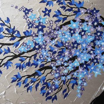 cherry blossom tree trees large abstract art zen oriental gray grey silver blue purple Japanese tree painting flowers wall paintings