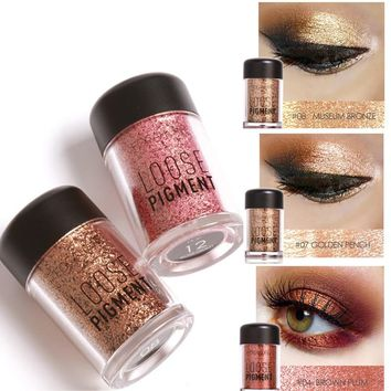 2017 New Makeup Loose Pigment Shadows Eye Mineral Powder Gold Red Metallic Focallure Loose Glitter Eyeshadow Color Makeup