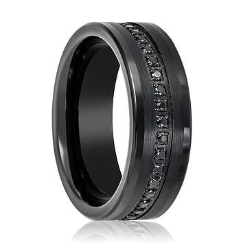 Black CZ Eternity Flat Men's Pinky Ring with a Center Groove of Inset Black Sapphire