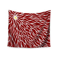 "NL Designs ""Swirls Poinsettia"" Maroon Wall Tapestry"