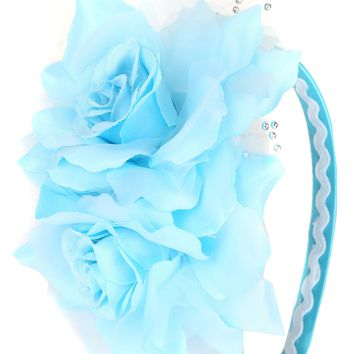 Light Blue Girls Organza & Satin Double Flower Headband