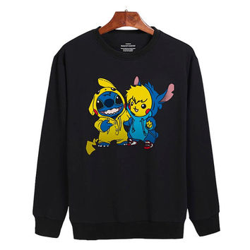 Pikachu and stitch Sweater sweatshirt unisex adults size S-2XL