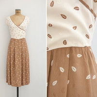 1970s Dress - Vintage 70s Toffee & Cream Silk Dress - Parque Dress