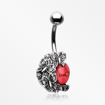 Butterfly Mystique Red Stone Belly Button Ring