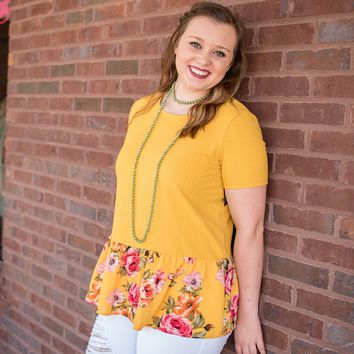 You Can Yellow Floral Bottom Top