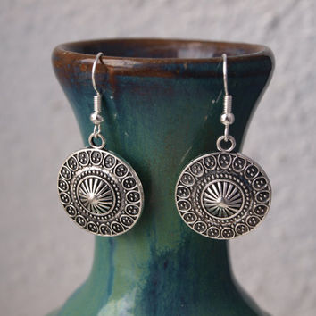 Round silver earrings Ornament dangle earrings Charms jewelry Circle disc ethnic earrings Ancient ornate jewelry Gift for girl