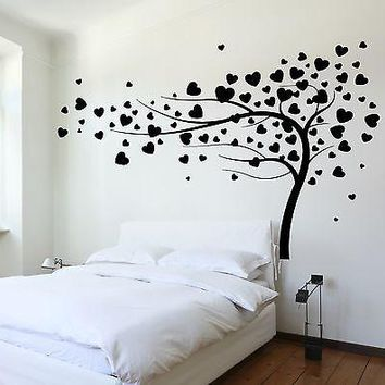 Wall Decal Tree Branch Hearts Leafs For Bedroom Vinyl Sticker Unique Gift (z3620)