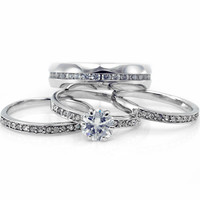 Jessica's Matching His & Hers Austrian Crystal Stainless Steel Ring Set