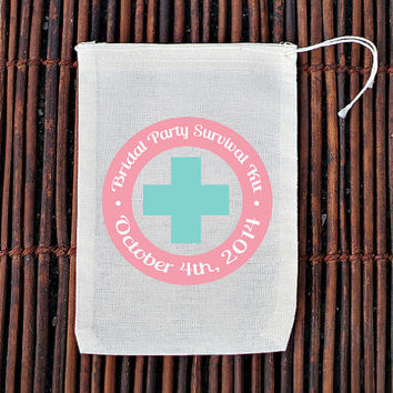 Bridal Party Survival Kit Bachelorette Hangover Kit- Muslin Cotton Mini Favor Bags