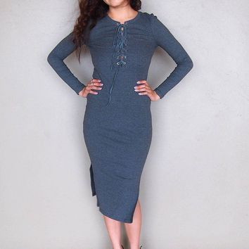 Bombshell Charcoal Grey Lace Up Bodycon Midi Dress