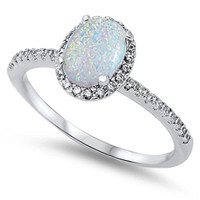 Sterling Silver CZ Simulated Diamond and Lab White Opal Oval Center Halo 10MM Ring