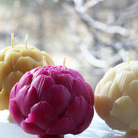 Brightly Tinted Beeswax Artichoke ~ One Globe Artichoke
