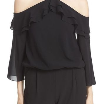Alice + Olivia 'Layla' Stretch Silk Cold Shoulder Ruffle Top | Nordstrom