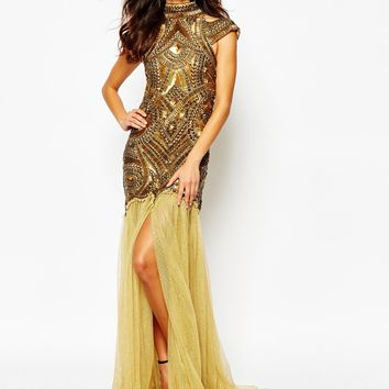 A Star Is Born Jewelled Bodice Maxi Dress With Mesh Skirt