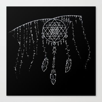 Shri Yantra / Dream Catcher Canvas Print by Angelina May