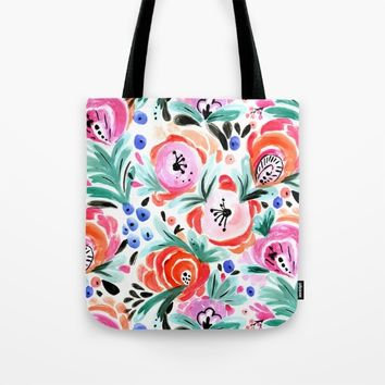 Tropical Sunrise Morning Glory Boho Watercolor Floral Tote Bag by CRYSTAL ▽ WALEN