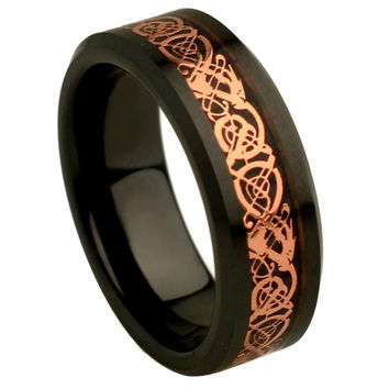 Ceramic Flat Black High Polish Rose Tone Celtic Dragon Inaly Beveled Edge Ring 8MM