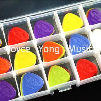 100pcs Alice Projecting Nylon Acoustic Electric Guitar Picks Plectrums+1 Large Plastic Picks Holder Case Box Free Shipping
