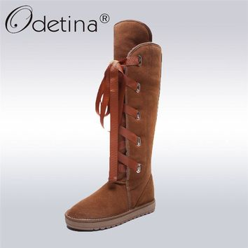 Odetina 2017 Genuine Leather Classic Women Australia Snow Boots Lace Up Wool Fur Lined Knee High Boots Winter Warm Shoes Size 43