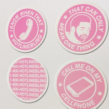 Drake - Hotline Bling Fridge Magnet 4 Pack: I Know When That Hotline Bling, That Can Only Mean One Thing