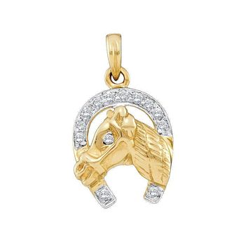 14kt Two-tone Gold Women's Round Diamond Lucky Horseshoe Horse Head Pendant 1-10 Cttw - FREE Shipping (US/CAN)