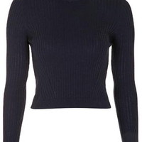 Ribbed Wool Blend Cropped Sweater - Navy Blue