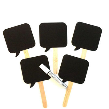 Square Chalkboard Speech Bubble Photobooth Props with Chalkboard Marker Set of 5 Speech Bubble Props Chalk board Props Wedding Decoration