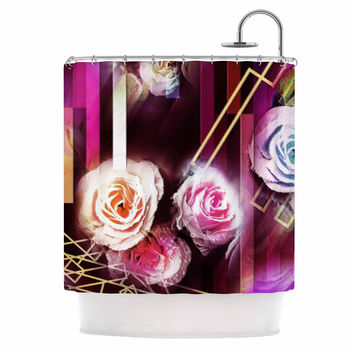 "Dawid Roc ""Roses-Floral Geometric Stripes "" Pink Blue Shower Curtain"