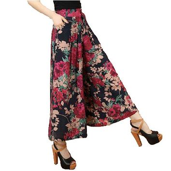 Big Plus size Summer Women Printed Flower Pattern Wide Leg Loose Cotton Dress Pants Female Casual Skirt Trousers Culottes AE1279
