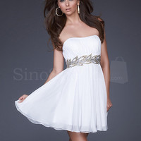 WowDresses — White A-line Strapless Neckline Mini Chiffon Graduation Dress 2013