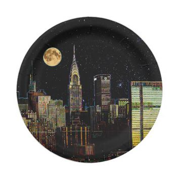 New York Skyline At Night With Full Moon Paper Plate