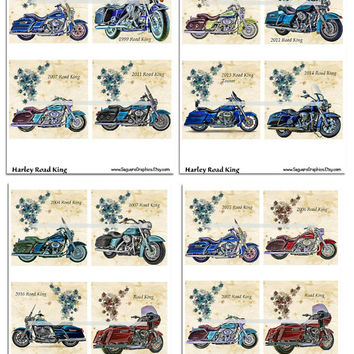 Harley Road King Motorcycles Altered Art - Coasters Artwork, 4.0 inch Squares, Arts and Craft Projects