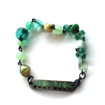 Cute Cactus Bracelet // Vintage Glass Bead Bracelet // Motivational Gift