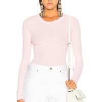 Enza Costa Rib Fitted Long Sleeve Crew Tee in Peony | FWRD