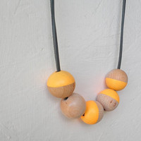 Wooden Bead Necklace - Large Wooden Beads - Orange Necklace - Geometry Necklace - Asymmetry