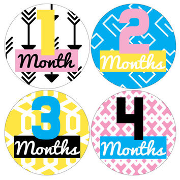 Baby Monthly Milestone Stickers- 12 Stickers, Bright Fun Girl Monthly Baby Stickers, Milestone Stickers, Monthly Baby Stickers,  Bright Fun