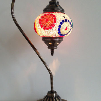 Traditional Turkish Mosaic Lamp with vintage style Swan neck metal base, Table lamp, Turkish lamp, Bedside lamp, Desk lamp, Romantic lamp.