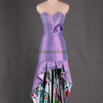 unique taffeta and printed satin prom dresses with crystals can be split up and down gowns for party elegant sweetheart beaded dress